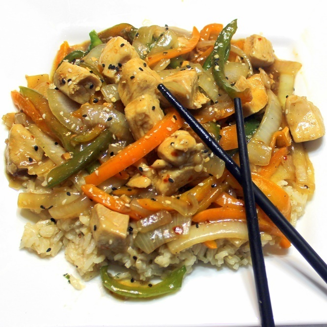 Sesame Chicken Peppers and Onions Stir Fry