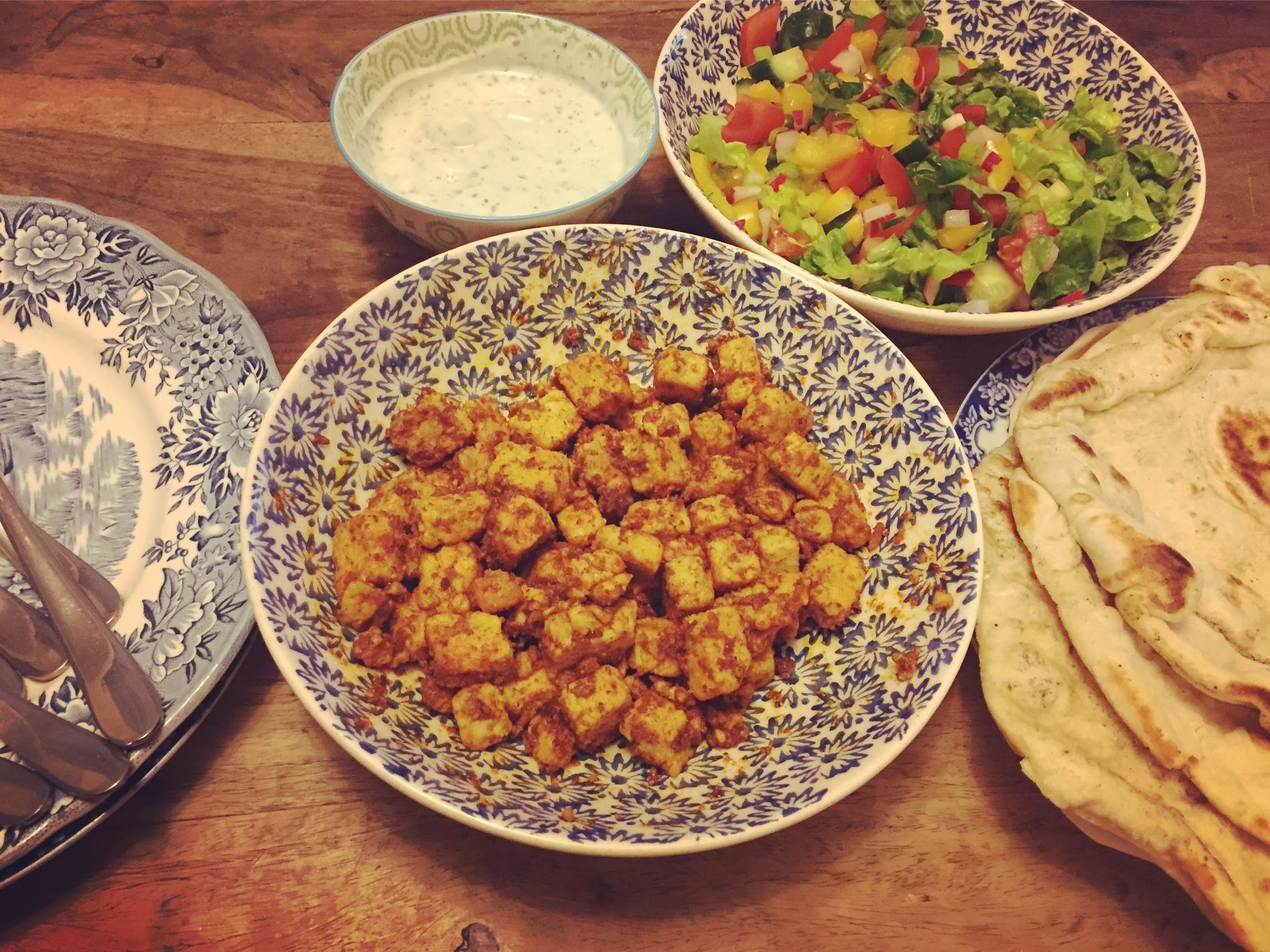 """Turkish""spiced Quorn with Super Easy Homemade Flatbreads"