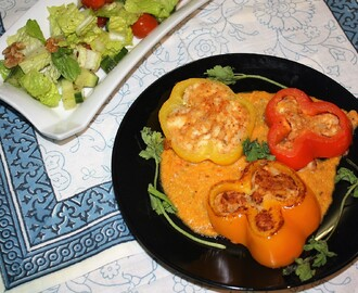 Stuffed Bell Peppers in Tomato Gravy