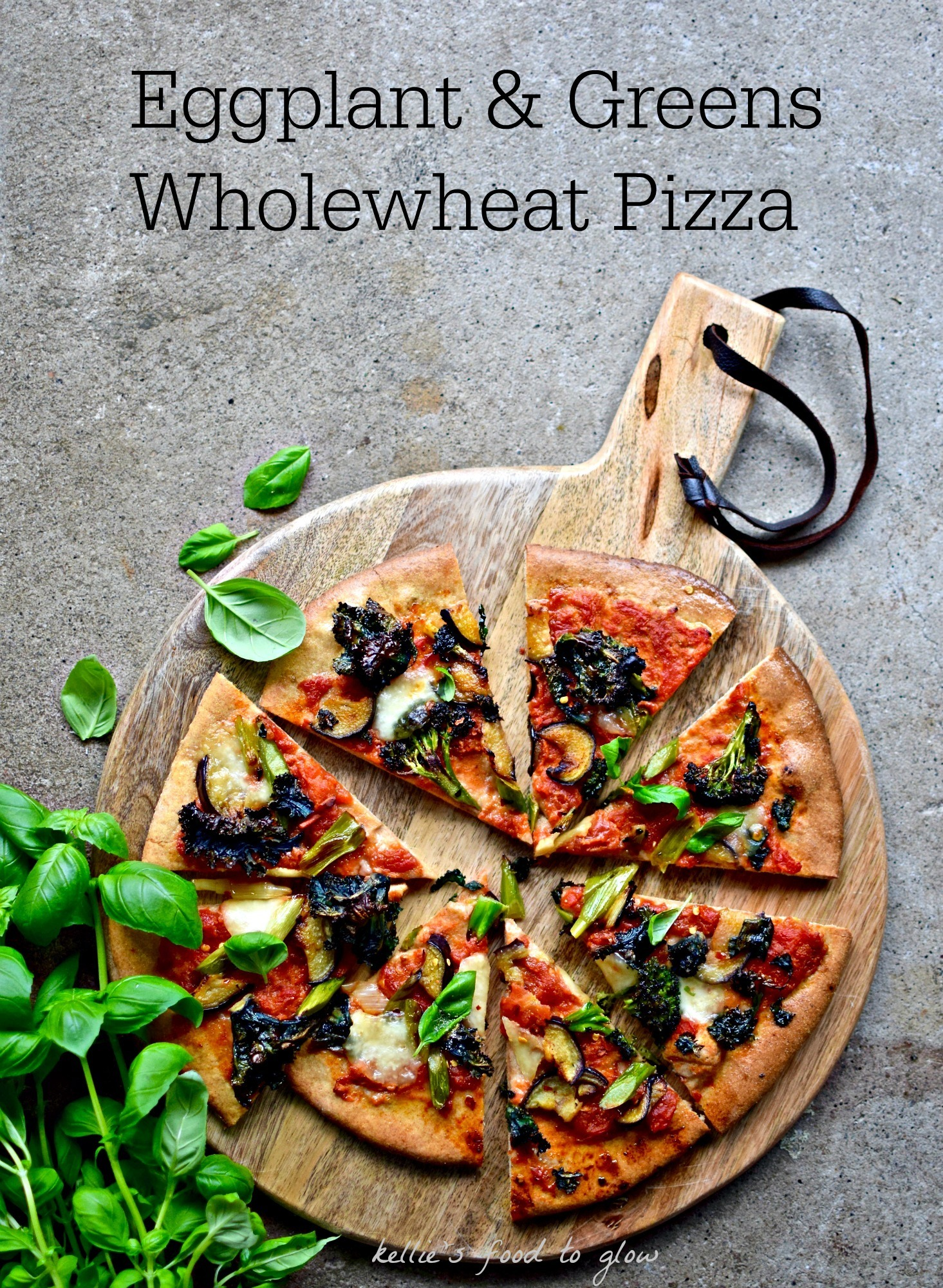 Eggplant and Double Green Pizza (and Calzone!) with Foolproof Wholewheat Dough