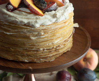 Einkorn Crepe Cake with Fall Stone Fruit