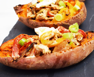 Creamy Cajun Chicken Stuffed Sweet Potato Skins