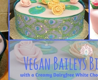 Vegan Baileys Birthday Cake Filled with Creamy Dairyfree White Chocolate, Coffee Buttercream
