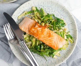 Pan-fried Salmon & Garlic Soy Greens