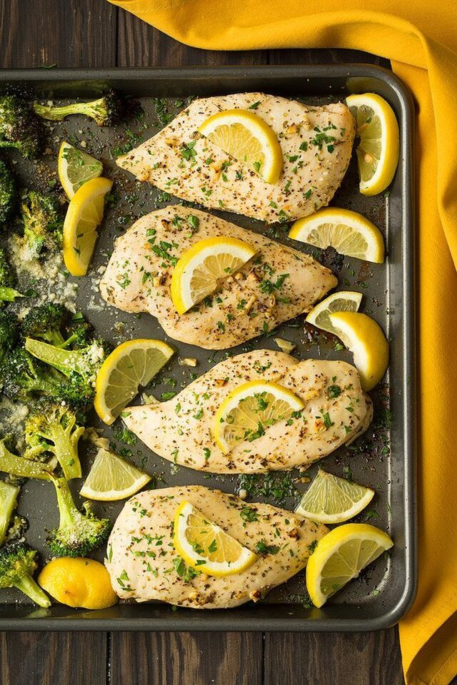 Sheet Pan Lemon Chicken with Parmesan Roasted Broccoli
