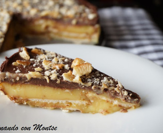 Tarta de flan con galletas y chocolate