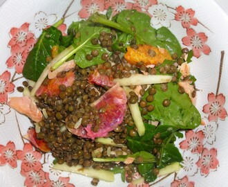 Smoked Trout, Lentil, Orange and Kohlarabi Salad with an Orange and Thyme Dressing Recipe