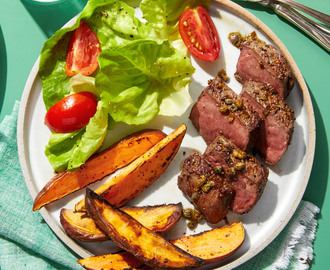 Recipe: Seared Steaks with Sweet Potato Fries & Salad - Blue Apron