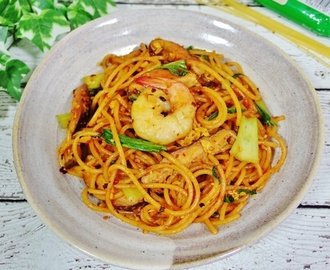 Mee Goreng Style Spicy Fried Spaghetti Recipe