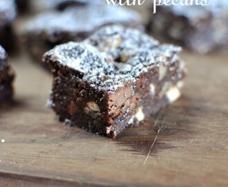 Triple chocolate brownies with pecans