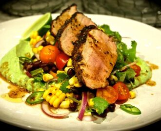 Cajun Pork with Grilled Corn & Black Bean Salad