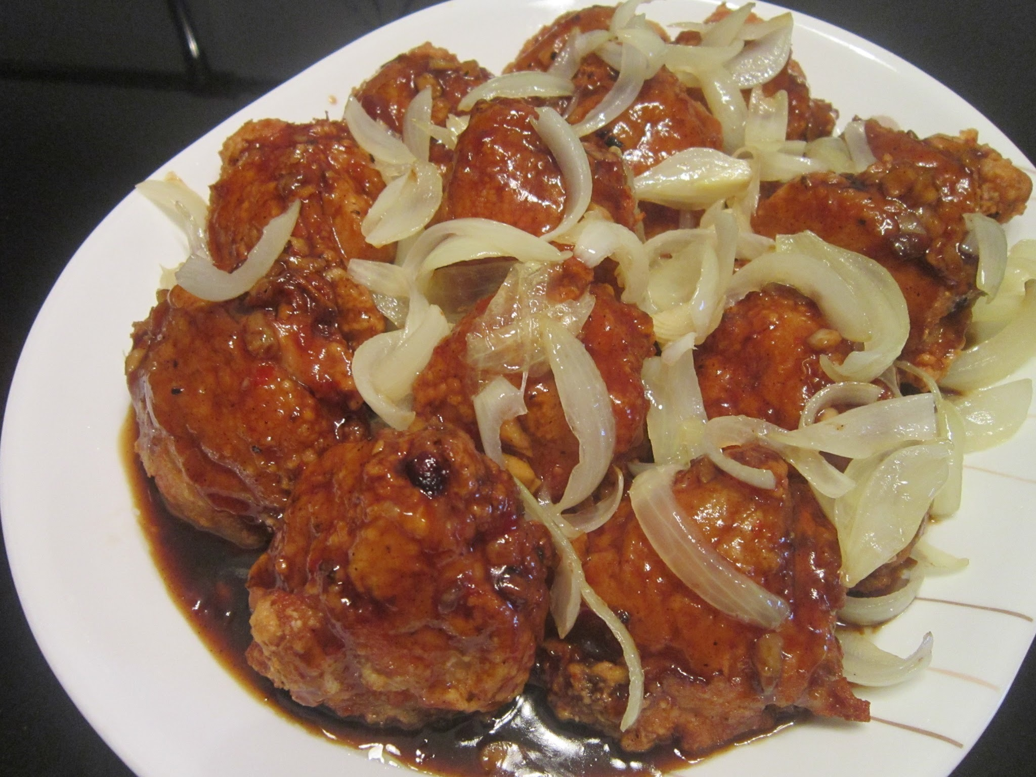 CRISPY CHICKEN with SPICY BARBEQUE GLAZE