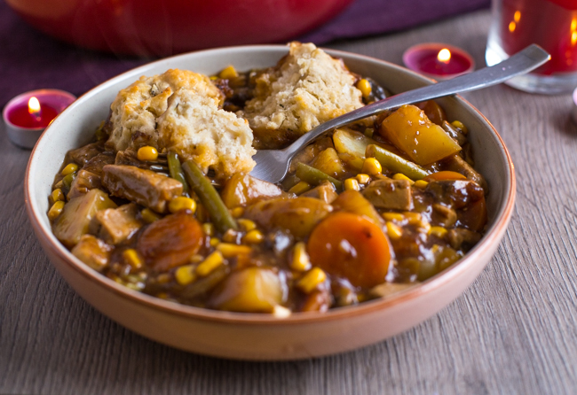 Vegetarian 'beef' stew with easy suet dumplings