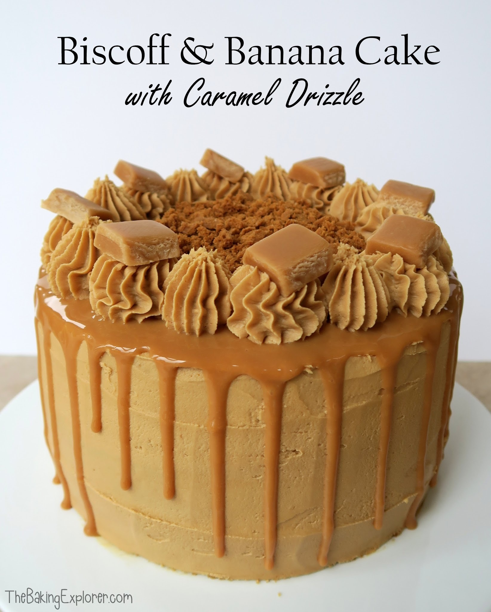 Biscoff & Banana Cake with Caramel Drizzle