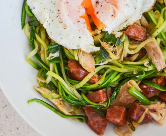Zucchini Noodles with Chicken, Chorizo and a Fried Egg