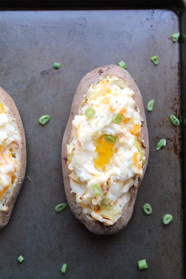 Colcannon Inspired Twice Baked Potatoes