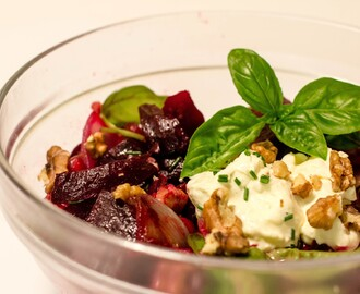 Beetroot, Onion, Pom, Basil & Walnut Salad
