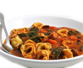 Skinny Sausage, Tortellini and Kale Tomato Soup