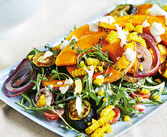 Roast pumpkin and zucchini salad with blackened corn