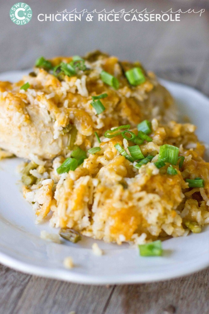 Cheesy Asparagus Chicken and Rice Casserole