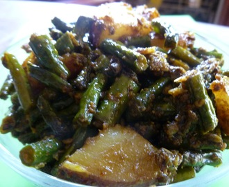 Barbatti Aloo with Saouf tadka /Chinese Long beans and Potato  cooked with fennel seeds