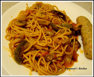 Mushroom spaghetti with desi touch...