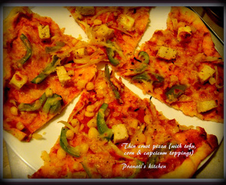 Thin Crust Pizza (Tofu, corn, capcicum & Onion topping)