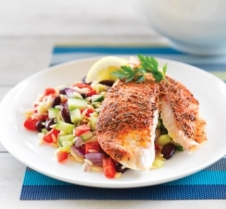 Cajun baked snapper with risoni bean salad
