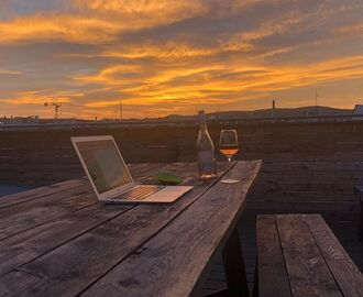 Love my office at this time of the day! #nofilter #rosewine #intheoffice #sunset