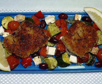 Delicious: July 2011 - Crumbed Lamb Chops with Roasted Greek-Salad Vegetables