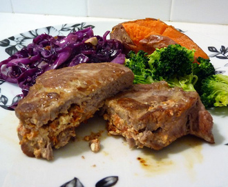 Stuffed pork scotch fillet with mustard & hazelnut red cabbage
