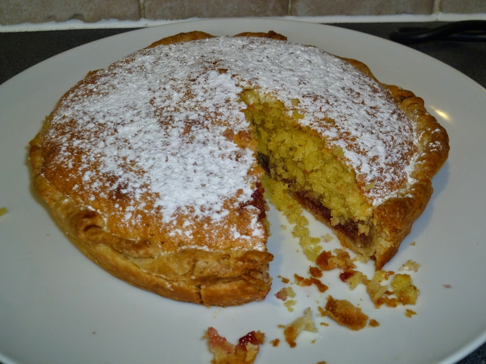 Coconut and raspberry jam pastry