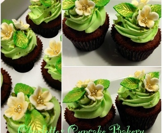 Chokolade/appelsin cupcakes m/Pistacie frosting