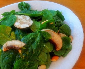 Spinach and Mushroom Salad with Miso-Tahini Dressing