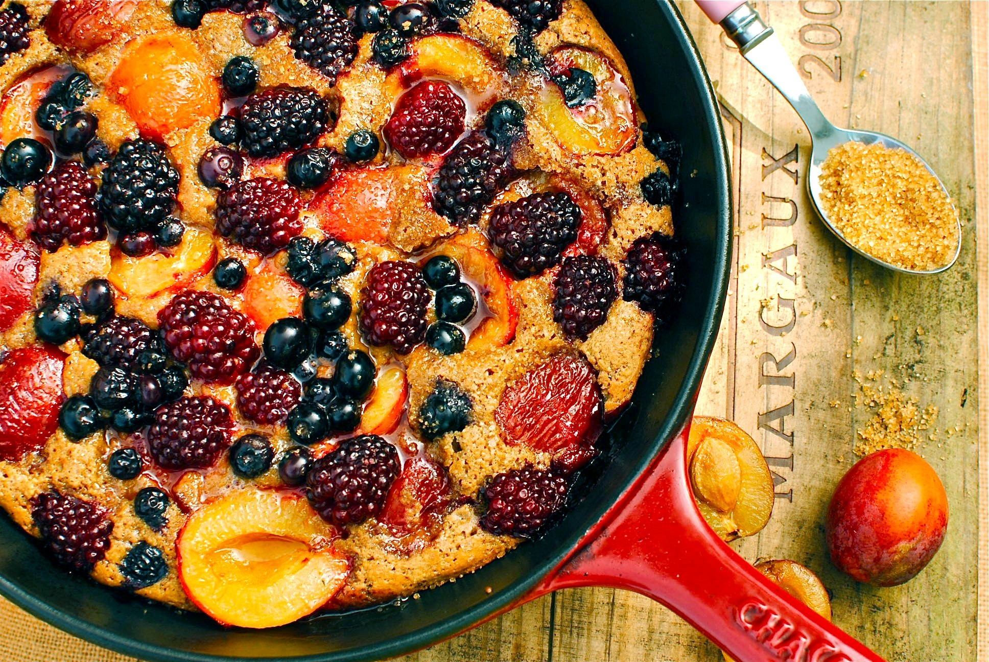 Plum-Berry Upside-Down Skillet Cobbler