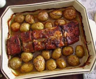Pork spare ribs in the oven with honey and mustard