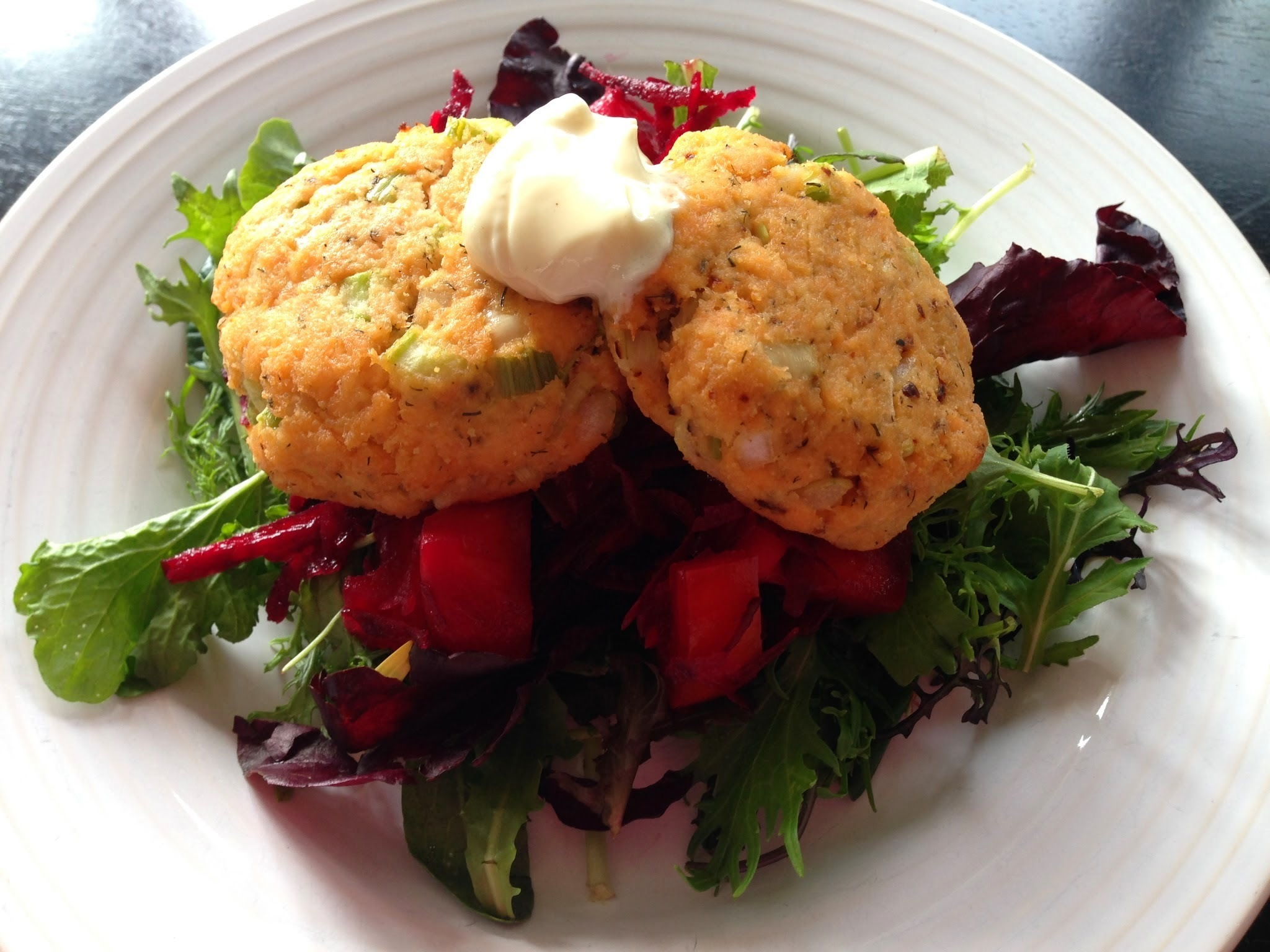 Salmon Cakes with Beetroot Salad and Homemade Mayonnaise