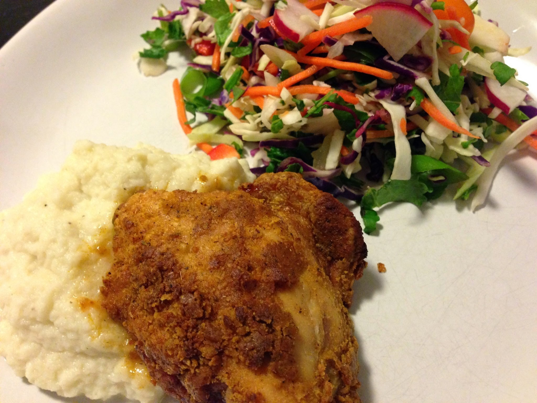 Secret Spice Chicken, Coleslaw, and Mashed Cauliflower - Clean KFC!