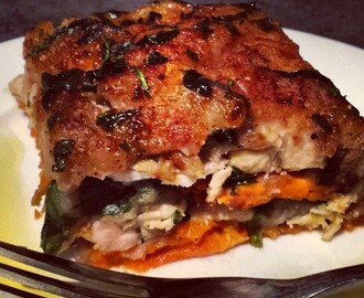 "Recipe: Chicken Lasagna (w/ Butternut Pumpkin ""Noodles"" & Sweet Potato ""Cheese"")"