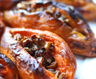 Sweet Potatoes with Pecan Syrup (gluten free, dairy free, paleo, soy free, vegan)