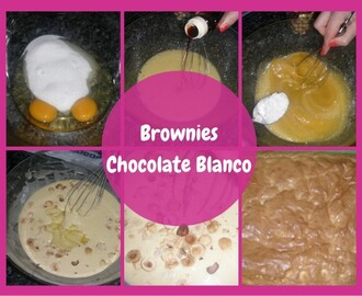 Brownies de chocolate blanco