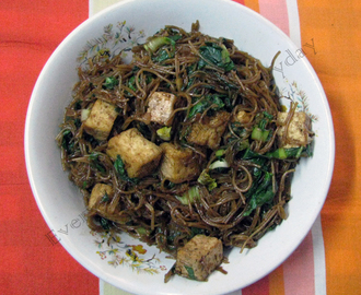 Rice Noodles with Tofu and Greens