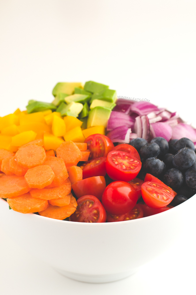 Rainbow Salad with Low Fat Raw Vegan Dressing
