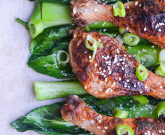Crispy Chinese Chicken Drumsticks with Sesame Pak Choi
