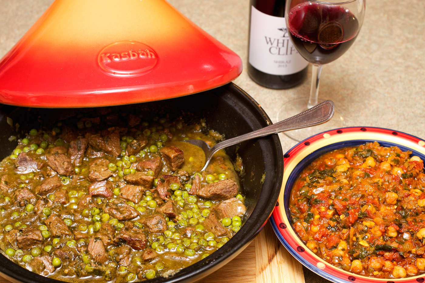 Lamb Tagine with Peas and Lemons served with a Tagine of Chickpeas