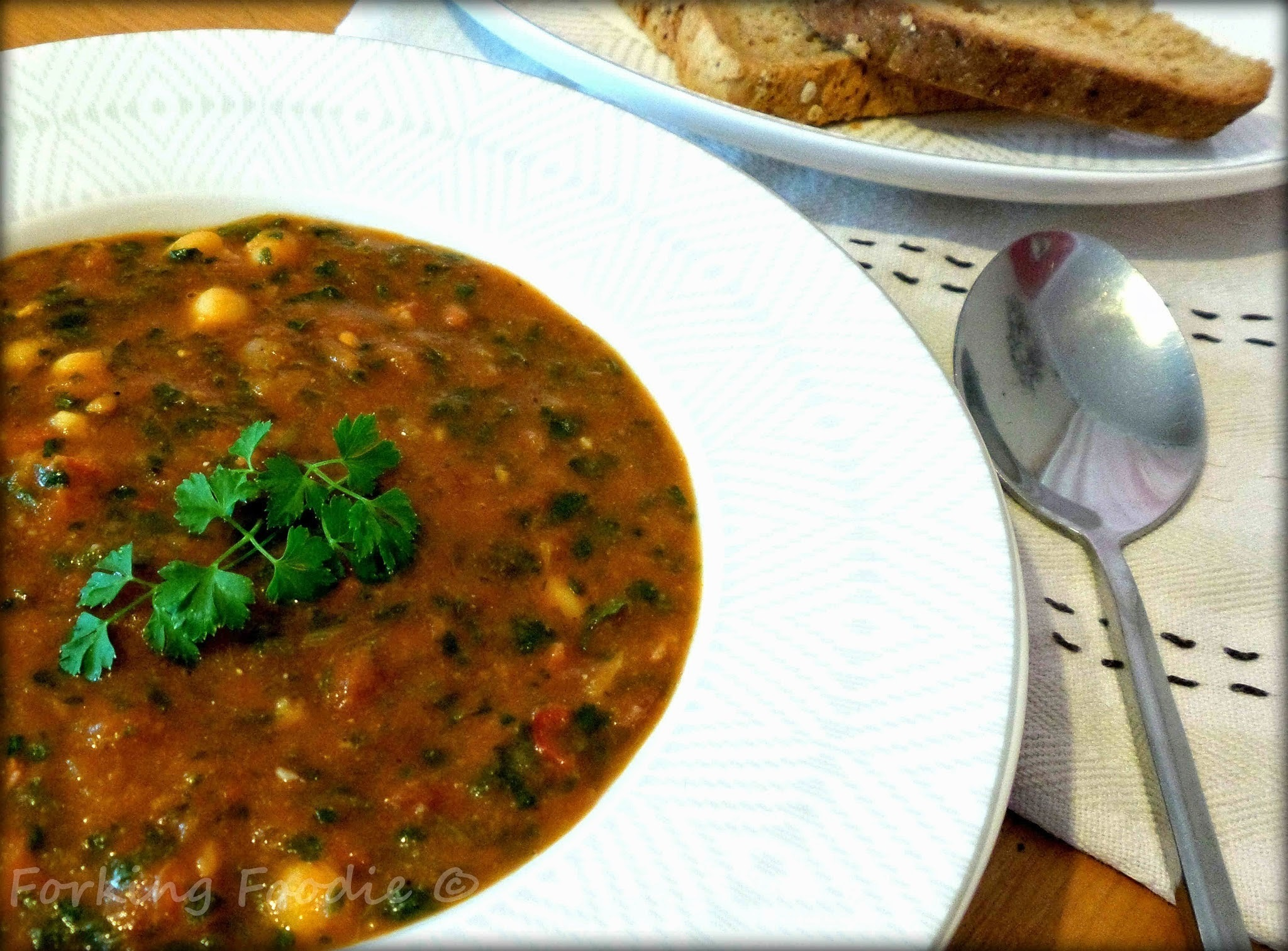 Spicy Chorizo, Chickpea and Spinach Soup (includes Thermomix method)