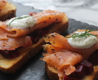 beetroot bruschetta with smoked salmon and dill crème fraîche.