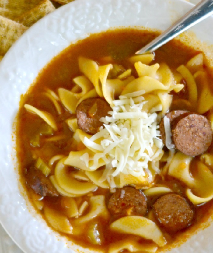 Sweet and Tangy Kielbasa Sausage Noodle Soup