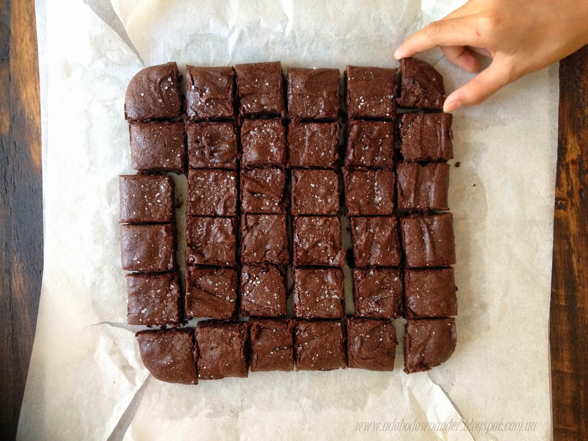 Cocoa brownies with sea salt flakes
