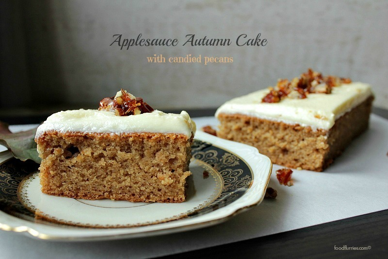 Applesauce Autumn Cake with Candied Pecans